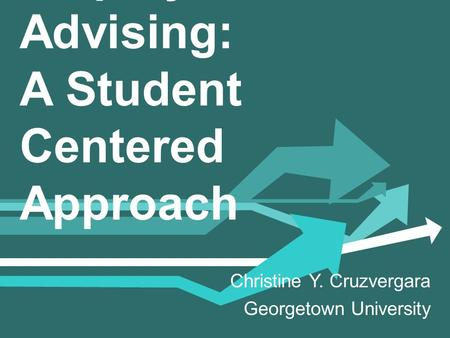 Employment Advising: A Student Centered Approach Christine Y. Cruzvergara Georgetown University.
