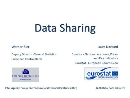Data Sharing Werner Bier Deputy Director-General Statistics European Central Bank Inter-Agency Group on Economic and Financial Statistics (IAG) G-20 Data.