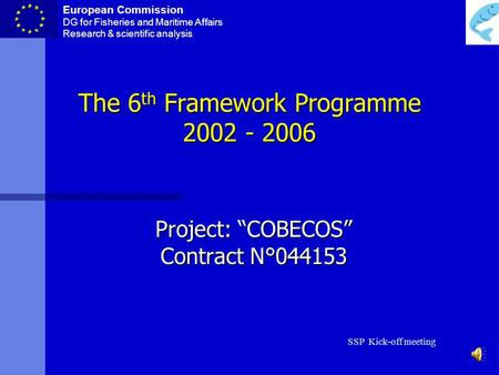 European Commission DG for Fisheries and Maritime Affairs Research & scientific analysis SSP Kick-off meeting The 6 th Framework Programme 2002 - 2006.