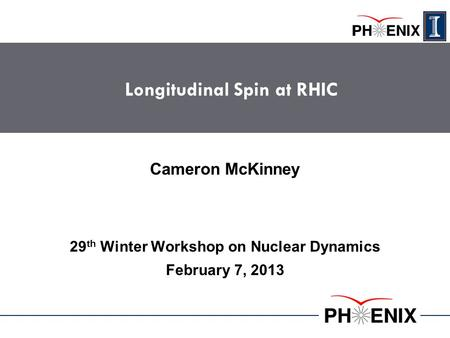 Longitudinal Spin at RHIC 29 th Winter Workshop on Nuclear Dynamics February 7, 2013 Cameron McKinney.
