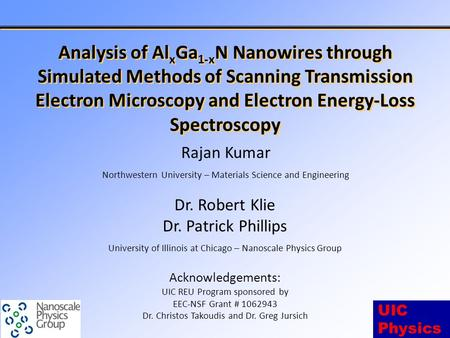 UIC Physics Analysis of Al x Ga 1-x N Nanowires through Simulated Methods of Scanning Transmission Electron Microscopy and Electron Energy-Loss Spectroscopy.