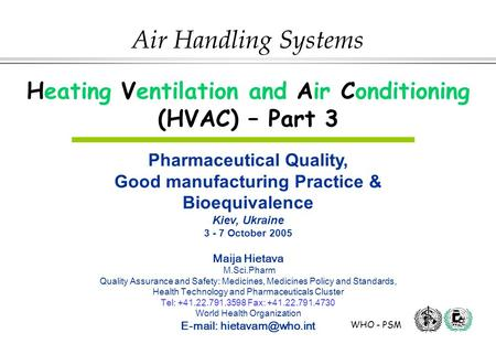 Heating Ventilation and Air Conditioning (HVAC) – Part 3