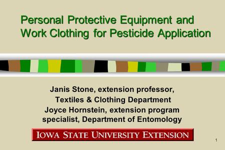 1 Personal Protective Equipment and Work Clothing for Pesticide Application Janis Stone, extension professor, Textiles & Clothing Department Joyce Hornstein,