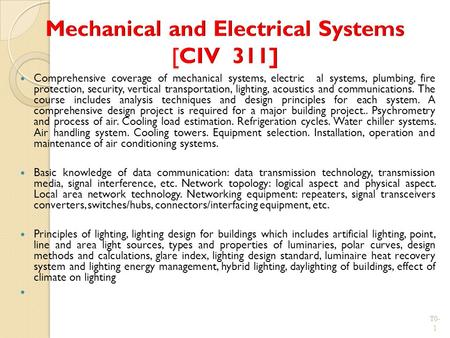 Mechanical and Electrical Systems [CIV 311]