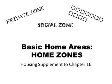 Basic Home Areas: HOME ZONES