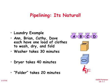 CS252/Patterson Lec 1.1 1/17/01 Pipelining: Its Natural! Laundry Example Ann, Brian, Cathy, Dave each have one load of clothes to wash, dry, and fold Washer.