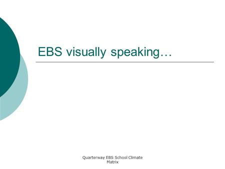 Quarterway EBS School Climate Matrix EBS visually speaking…