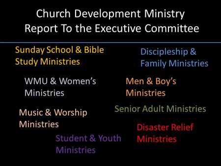 Church Development Ministry Report To the Executive Committee Discipleship & Family Ministries Sunday School & Bible Study Ministries WMU & Women's Ministries.