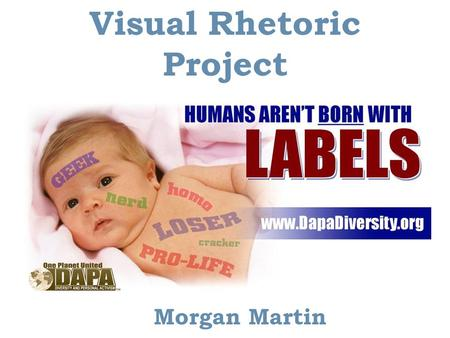 Visual Rhetoric Project Morgan Martin. Background Information  DAPA stands for diversity and personal activism.  DAPA is a program in which those.