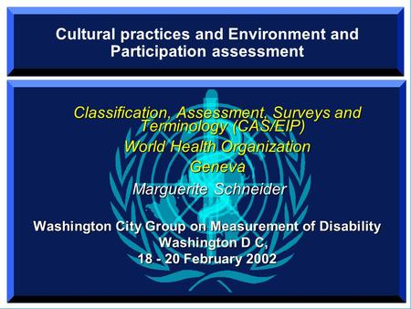 Cultural practices and Environment and Participation assessment Classification, Assessment, Surveys and Terminology (CAS/EIP) World Health Organization.