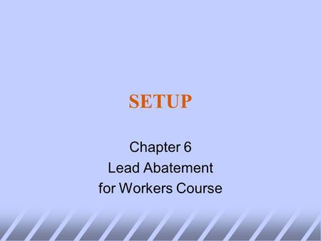SETUP Chapter 6 Lead Abatement for Workers Course.