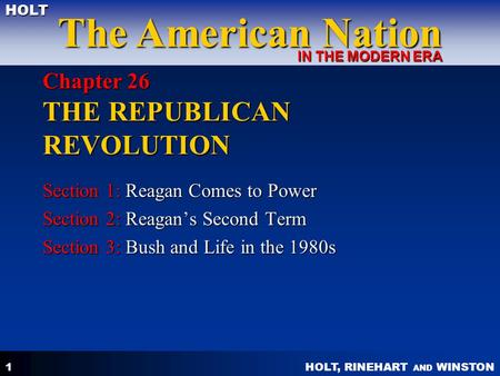 Chapter 26 THE REPUBLICAN REVOLUTION