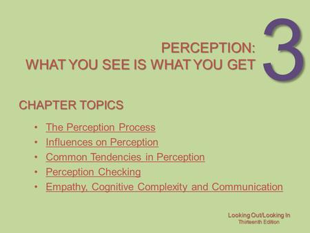 Perception: what you see is what you get