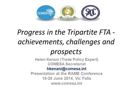 Helen Kenani (Trade Policy Expert) Presentation at the RAME Conference