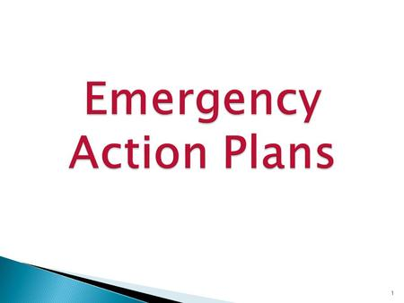 1.  Written Plan which describes actions that must be taken to ensure employee safety in emergencies  Includes floor plans or maps which show emergency.