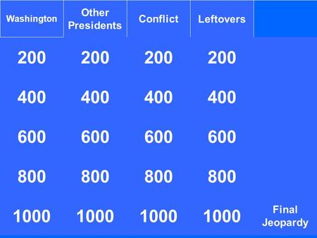 200 Washington Other Presidents ConflictLeftovers 200 400 1000 400 600 800 1000 800 1000 400 Final Jeopardy 800 1000.
