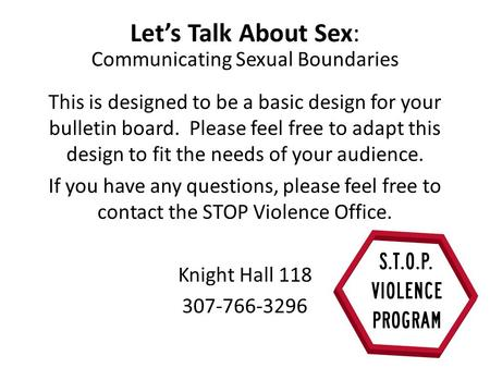 Let's Talk About Sex: Communicating Sexual Boundaries