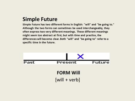 Simple Future Simple Future has two different forms in English: will and be going to. Although the two forms can sometimes be used interchangeably,