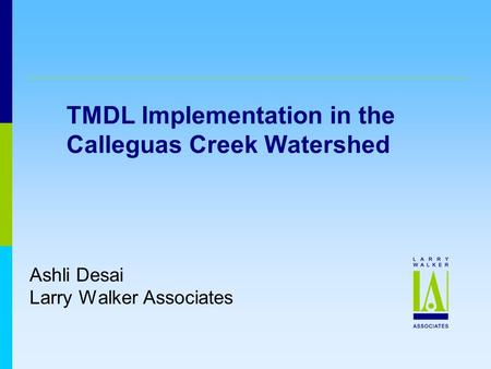 TMDL Implementation in the Calleguas Creek Watershed Ashli Desai Larry Walker Associates.