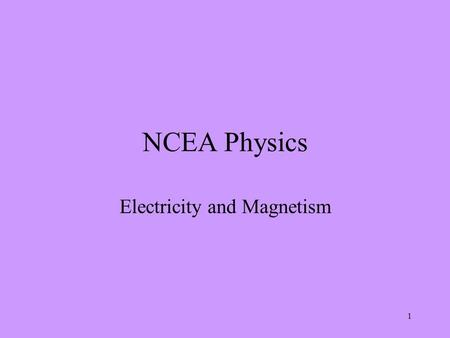1 NCEA Physics Electricity and Magnetism. 2 Charging by friction Aims: To be able to describe common materials which are electrical conductors or insulators.