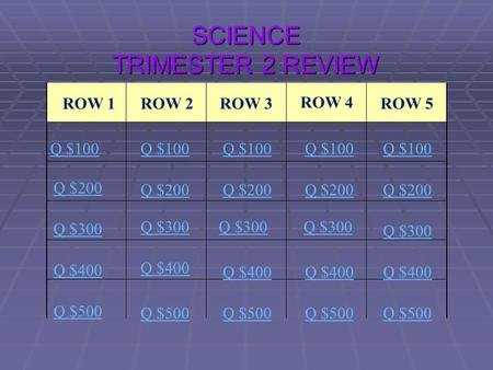 SCIENCE TRIMESTER 2 REVIEW ROW 1ROW 2ROW 3 ROW 4 ROW 5 Q $100 Q $200 Q $300 Q $400 Q $500 Q $100 Q $200 Q $300 Q $400 Q $500.