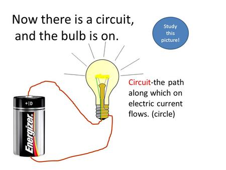 Now there is a circuit, and the bulb is on. Circuit-the path along which on electric current flows. (circle) Study this picture!