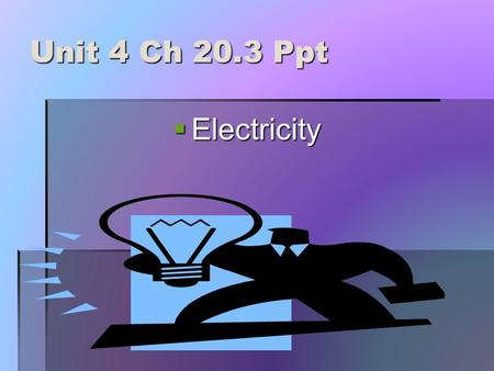 Unit 4 Ch 20.3 Ppt  Electricity Electricity A.Electric Charge B.1. Static electricity is the accumulation of excess electric charges on an object. a.