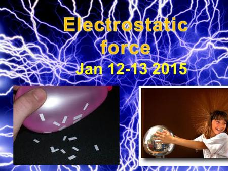 Jan 12-13 2015. Quick Review: What do we already know about the electrostatic force? The electrostatic force is the force between stationary charges.