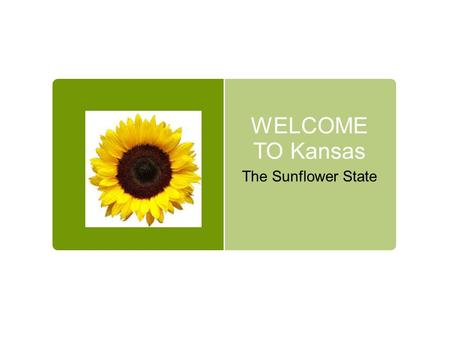 WELCOME TO Kansas The Sunflower State. Kansas is in the Great Plains.