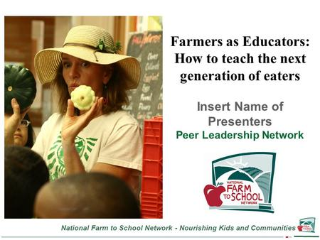National Farm to School Network - Nourishing Kids and Communities Farmers as Educators: How to teach the next generation of eaters Insert Name of Presenters.