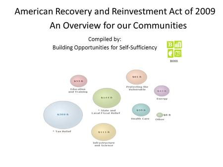 American Recovery and Reinvestment Act of 2009 An Overview for our Communities Compiled by: Building Opportunities for Self-Sufficiency.