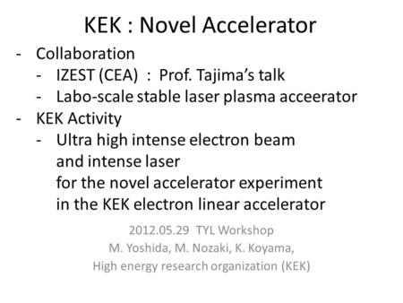 KEK : Novel Accelerator 2012.05.29 TYL Workshop M. Yoshida, M. Nozaki, K. Koyama, High energy research organization (KEK) -Collaboration -IZEST (CEA) :