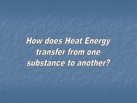 How does Heat Energy transfer from one substance to another?