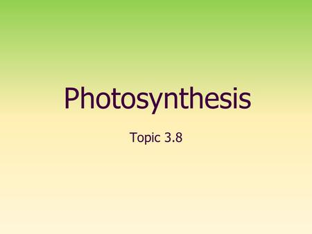 Photosynthesis Topic 3.8.