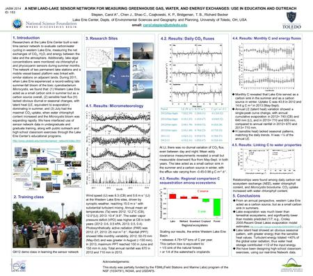A NEW LAND-LAKE SENSOR NETWORK FOR MEASURING GREENHOUSE GAS, WATER, AND ENERGY EXCHANGES: USE IN EDUCATION AND OUTREACH 1. Introduction Stepien, Carol.