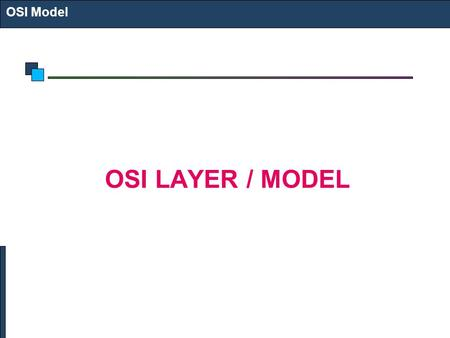 OSI Model OSI LAYER / MODEL.