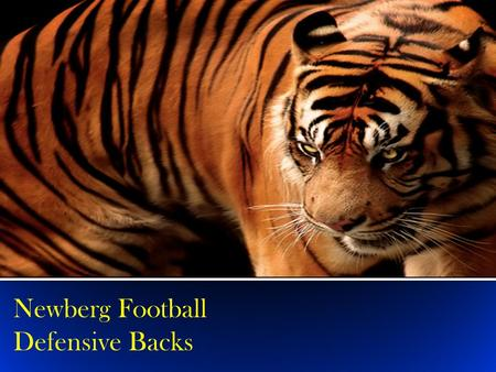 Newberg Football Defensive Backs. A Newberg DB is F.I.E.R.C.E. Fantastic Feet & Hips Intelligent Excellent Eyes Resilient Communicative Extremely Aggressive.