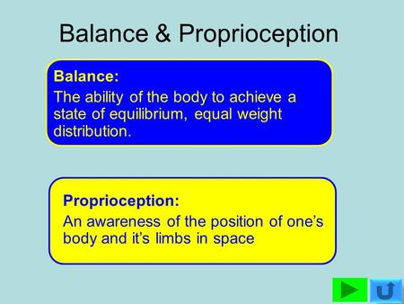 Balance & Proprioception Balance: The ability of the body to achieve a state of equilibrium, equal weight distribution. Proprioception: An awareness of.