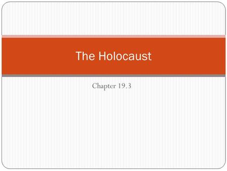 The Holocaust Chapter 19.3.