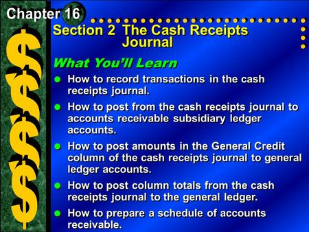$ $ $ $ Section 2 The Cash Receipts Journal What You'll Learn