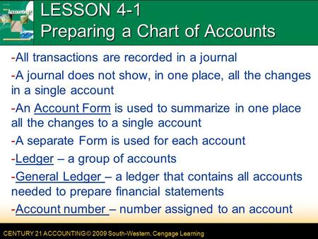 LESSON 4-1 Preparing a Chart of Accounts