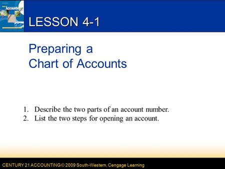 CENTURY 21 ACCOUNTING © 2009 South-Western, Cengage Learning LESSON 4-1 Preparing a Chart of Accounts 1.Describe the two parts of an account number. 2.List.