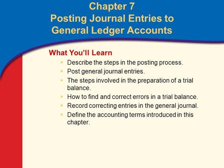 0 Glencoe Accounting Unit 2 Chapter 7 Copyright © by The McGraw-Hill Companies, Inc. All rights reserved. Chapter 7 Posting Journal Entries to General.