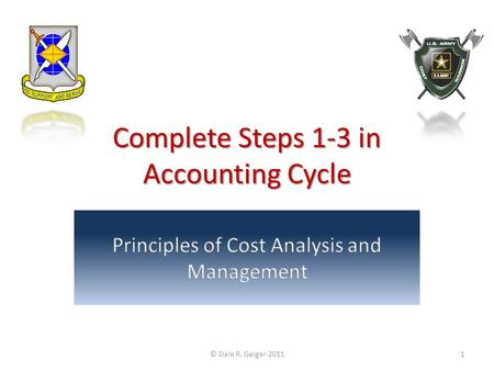 Complete Steps 1-3 in Accounting Cycle © Dale R. Geiger 20111.