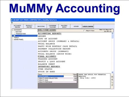 MuMMy Accounting. Master Forms Product Group Master.