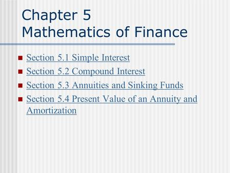 Chapter 5 Mathematics of Finance