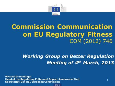 1 SG C Commission Communication on EU Regulatory Fitness COM (2012) 746 Working Group on Better Regulation Meeting of 4 th March, 2013 Michael Gremminger.