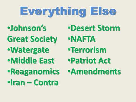 Everything Else Johnson's Great Society Johnson's Great Society Watergate Watergate Middle East Middle East Reaganomics Reaganomics Iran – Contra Iran.