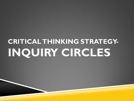 CRITICAL THINKING STRATEGY- INQUIRY CIRCLES. Corner One  Have never heard of Inquiry Circles Corner Two  Have heard of 'The Inquiry Circles' but have.