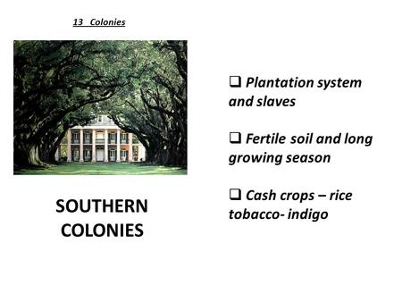 SOUTHERN COLONIES 13 Colonies  Plantation system and slaves  Fertile soil and long growing season  Cash crops – rice tobacco- indigo.